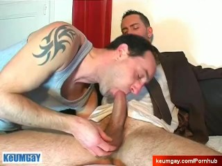 Greg's big dick massage! (suited male seduced for gay porn)