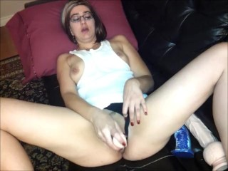 Trashy MILF fucks her meaty pussy with a dildo and vibrator