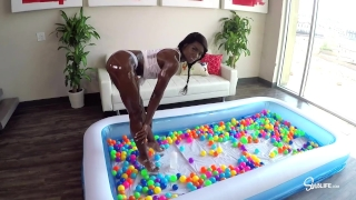 SinsLife Sex Tour: Ana Foxxx, Kissa and Johnny, Oiled Hardcore in Ball Pit!