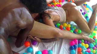 SinsLife Sex Tour: Ana Foxxx, Kissa and Johnny, Oiled Hardcore in Ball Pit! Lily step