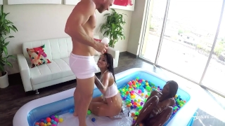 SinsLife Sex Tour: Ana Foxxx, Kissa and Johnny, Oiled Hardcore in Ball Pit! Doggy big