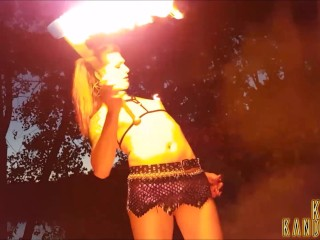 Dragon Queen KiraKandella Pyro Spins Fire and Burns Her Tgirl Cock and Body