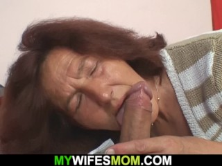 Old mother inl aw rides his cock after blowjob