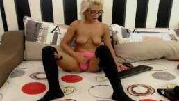 Hot Blonde Tranny Plays her Tits and Cock