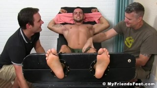 Two pervy dudes restrain and tickle sexy jock Christian W porno