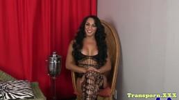 Latina trans goddess with big tits wanks solo