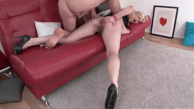 Young Anal Tryouts - Blonde turns on dude with striptease 13