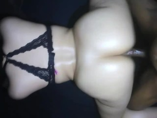 Big booty chick bounces her ass on huge cock & get's pussy filled w/ cum!