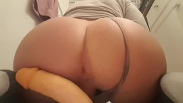 Cute bubble ass booty boy riding a dildo until cumming