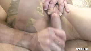 Twitching she still when her on he cums pussy is hairy over oriental