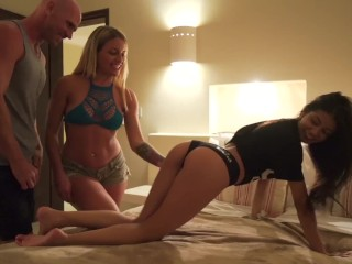 Hot Couple Fucks Tiny Latina on Vacation, Hardcore Squirting and CreamPie!!