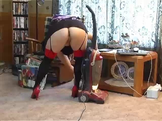 Red Heels Vacuum Cleaning Fetish - ALHANA WINTER - Upskirt Pussy Shots