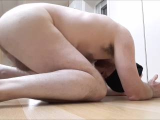 Painful anal for moaning straight guy with biggest dildo yet - ass to mouth