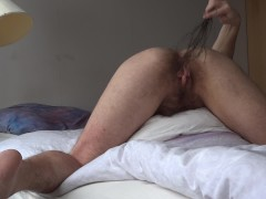 Birching: ftm transman spanks his hairy pussy with birches