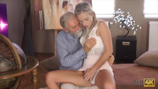 Enchanting Young Lady Lets Mature Man Take Care of Her