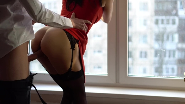 Wife In Red Dress And Stockings Cheating With Best Friend -6915