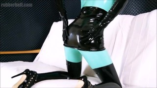 Obedient latex doll sucking master's cock till the end