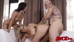 Alluring Julia Ann and Whitney White handling a big cock