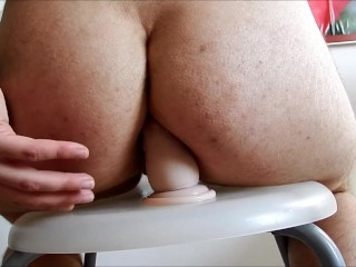 Big ftm's booty hard anal fucking and gaping on a bar stool with a dildo