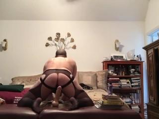 Riding 10 inch Dildo in lingerie