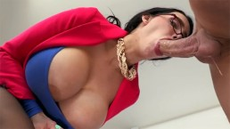 MILF with huge tits Amy Anderssen gets fucked in the office