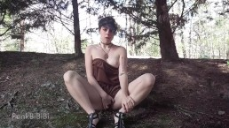 Teen masturbating in nature