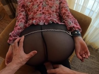Booty Ass in Stockings Сuffed Fuck Cumshot | Ginger Teen Takes Cum on Ass