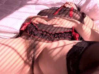 SPREADING MY PUSSY OPEN IN BLACK LINGERIE YOUR FAV STEP MOM DIANNE