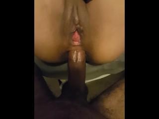 Petite Latina take Fat Black cock in Ass