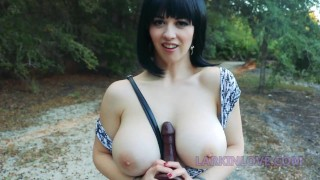 Public fucking and squirting with thick BBC dildo