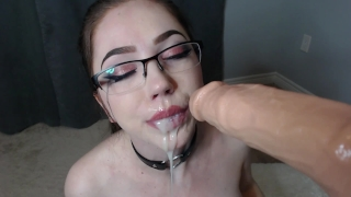 rubia in glasses POV blowjob cumming dildo facial and cum in mouth porno