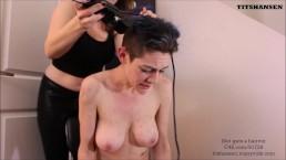Slut gets Head Shaved Bowlsnboobs