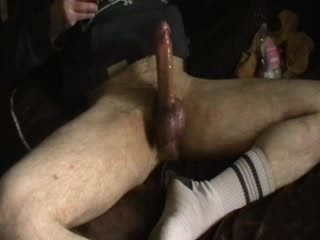 big fat cock greased up edging with cock ring & in white socks