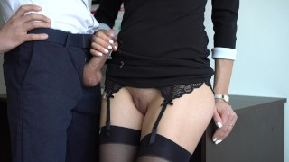 Sexy Secretary In Stockings Makes Boss Cum On Her Dress In Office Licking job