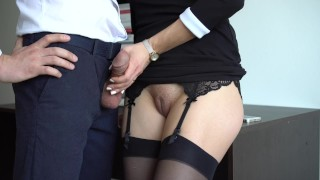 Office her in sexy makes dress in secretary stockings cum on boss stockings on