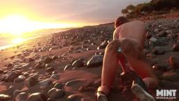 Public Beach Tease With Buttplug