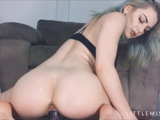 LittleMissElle First EVER Bad Dragon Dildo w/ Creampie & Pussy Stretching
