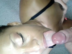 Sexy ebony milf loves sucking big white dick