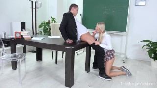 FuckStudies.com - Karolina - Blonde babe gets help and orgasm After behind
