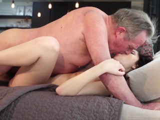 Old man Warming up my pussy and cums in my mouth I swallow it