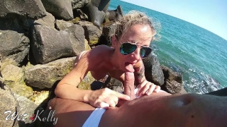 Best risky amateur sex on the beach with cum swallow Squirting ass