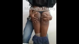 Indian Tranny Manusha exposing on cam with a client
