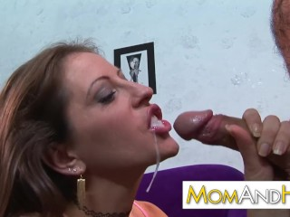 Mom loves anal with shy boy