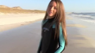 Filming my lesbian girl squirting on the beach