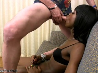 Black femboy gets girl shaft sucked and enjoys a sword fight