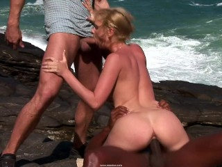 Busty Mermaid Fucked By Two Men