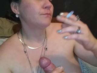 Smoking a cig and cock