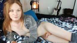 Redhead cums, deepthroats, and plays with buttplug in knee high socks