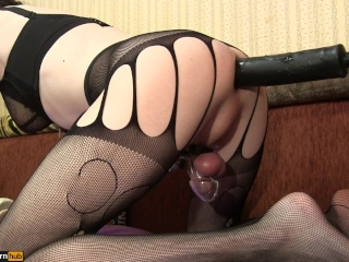 Fucking-machines fucks TS-Girl in the doggystyle, ass cum + Cock Cage