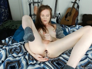 Ass to mouth and deep dildo fucking in socks and sweater by Melody Lane